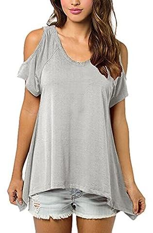 Damen T-Shirts Vogue Schulterfrei Unregelmäßige Tunika Tops Blusen V-Ausschnitt Mit