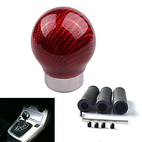 SMKJ Auto Schaltknauf Carbon Fiber Kugel Schaltknüppel Gear Shifter Knob Universal für most Fahrzeuge ohne Rückwärtsgangarretierung (Rot)