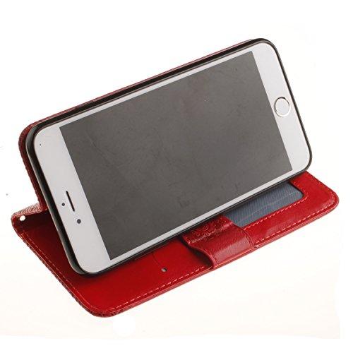 PU IPhone 7 Plus (5.5 pouces) Bookstyle Étui fleurs Fleur Housse en Cuir Case à rabat pour Apple iPhone 7 Plus (5.5 pouces) Coque de protection Portefeuille TPU Case (+Bouchons de poussière) (4) 2