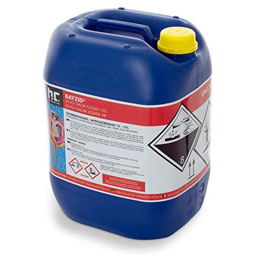 Chlor Flüssig 1 x 25 kg - Pool Flüssigchlor mit 13 bis 15% Aktivchlorgehalt zur Poolpflege und Wasserdesinfektion - Made in Germany - Höfer Chemie