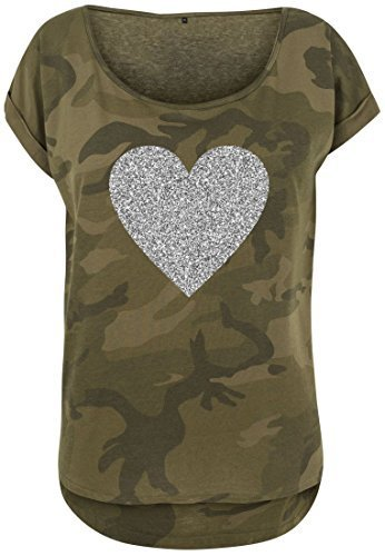 Livingstyle & Wanddesign Damen Camouflage T-Shirt Glitzer Herz Olive Camo Silber, Gr. XL (Frauen Herz Camo T-shirt)