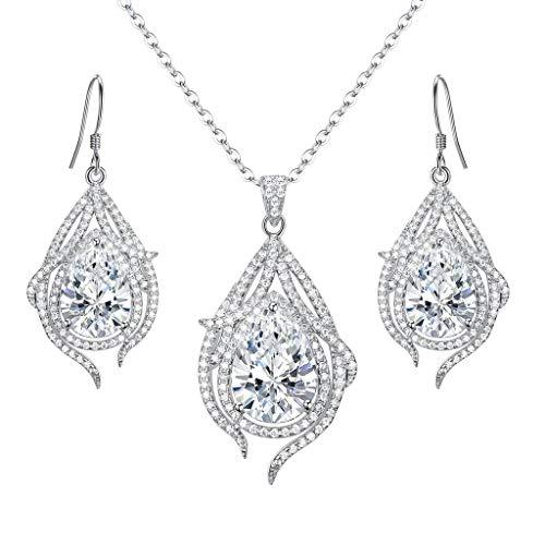 Clearine donna parure gioielli argento da sposa zirconia cubica pavone piuma lacrima collana con pendente gancio ciondola gli orecchini set trasparente