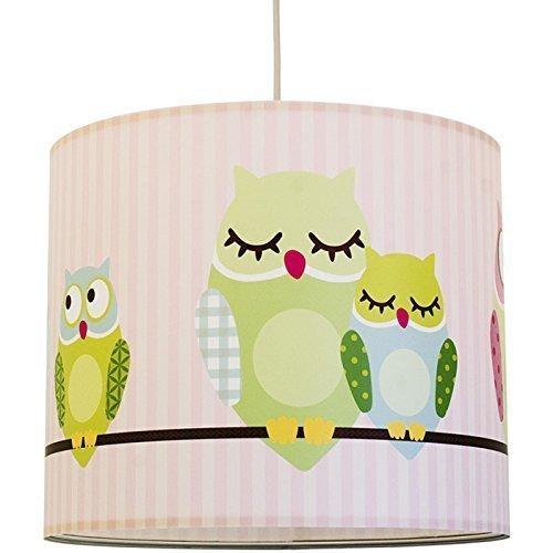 anna wand Lampenschirm KLEINE NACHTEULEN GIRLS - Schirm für Kinder/Baby Lampe mit Eulen in Rosa-Grün - Sanftes Licht für Tisch-, Steh- & Hängelampe im Kinderzimmer Mädchen & Junge