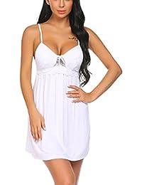 Scallop Mujer Pijama Camisón Ropa Interior de Dormir Cuello V Lazo Abierto Lateral Elástico