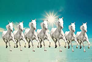 wallpicsTM Seven Lucky Running Horses Vastu Wallpapers Fully Waterproof Vinyl Sticker Poster for Living Room,Bedroom,Office,Kids Room,Hall(12X18)