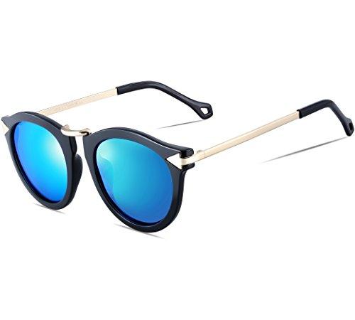 ATTCL Damen Vintage Mode Polarisiert Sonnenbrille Damen 11189 Blau