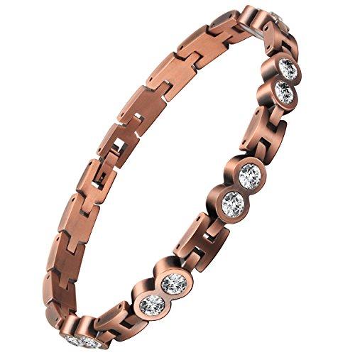 viterou Damen Armband Tschechische Kristalle, Magnetisch, massiver Kupfer Armband zur Arthritisschmerzen-linderung, 3500Gauss