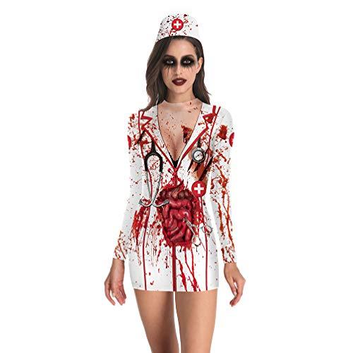 Verrückte Krankenschwester Kostüm - Fenical Halloween blutige Krankenschwester Kostüm Outfit Krankenschwester Cosplay verkleiden Sich für Frauen Größe l