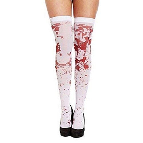 AAA226 Frauen über die Kniestrümpfe Blutgefärbte Blutige Socken Halloween Party (Halloween Dame Kostüme Die Weiße)