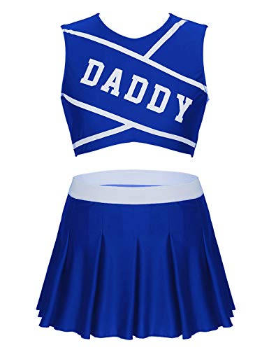 YiZYiF Damen Cheerleaderin Kostüm Ärmellos Crop Top Bauchfrei Oberteile + Faltenrock Schulmädchen Minirock School-Girl Uniform Karneval Fasching Outfits Royal_Blau - Blauer Mini Rock Kostüm