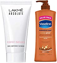 Lakmé Absolute Perfect Radiance Skin Lightening Facewash, 50g & Vaseline Intensive Care Cocoa Glow Body Lotion, 400 ml