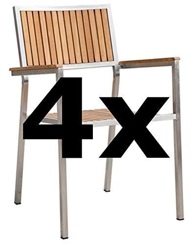 4Stk Designer Gartenstuhl mit Armlehne Gartensessel Stapelstuhl Stapelsessel Sessel Kuba-Teak Edelstahl Teak A-Grade stapelbar sehr robust von AS-S - Edelstahl-stapelstühle