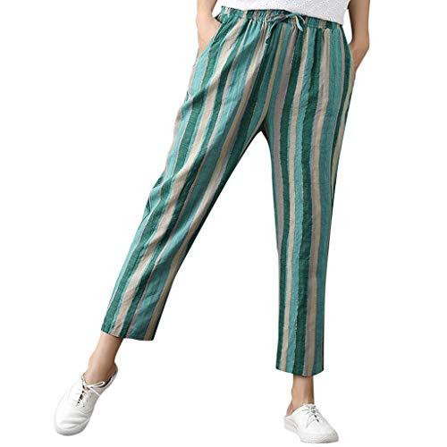 WOZOW Damen Hosen Harem Loose Long Streifen Gestreift Bettwäsche Baumwolle High Waist Kordelzug Zug Tie Strappy Straight Leg Trousers (2XL,Grün) -