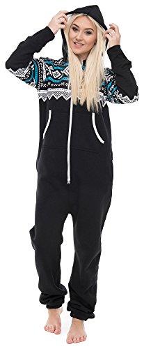 Mann Hunde Unten Kostüm - Loomiloo Jumpsuit Freizeitanzug Overall Hausanzug Einteiler Strampler Anzug Pyjama Aztec Aztek Schwarz