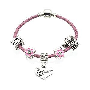 """Armband """"Little Angel"""", zur Erstkommunion, rosa, Leder-Armband mit Anhängern, für Mädchen, mit Geschenkbeutel"""