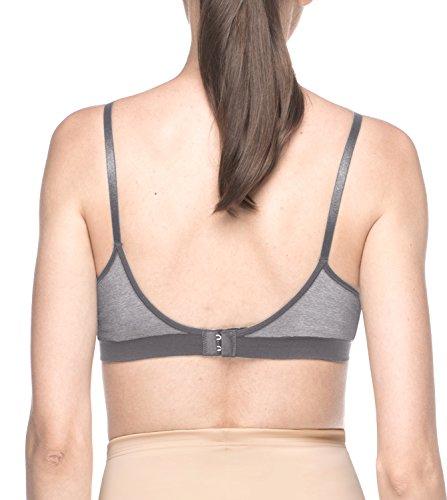 Lapasa Frauen Convertible Wire FreeBH V-AUSSCHNITT Women's Täglicher & relaxter BH-Stützbüstenhalter Ultra Comfort Free L25 Grau Meliert
