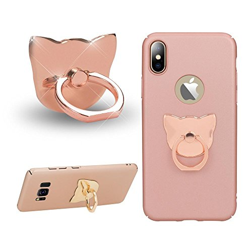 NALIA Fingerhalterung Ring-Halter Katze, Verstellbarer Fingergriff für Einhandbedienung Smartphone Universal-Ständer Multi-Winkel, kompatibel mit iPhone, kompatibel mit Samsung, etc, Farbe:Rose Gold (Ring-halter Katze)