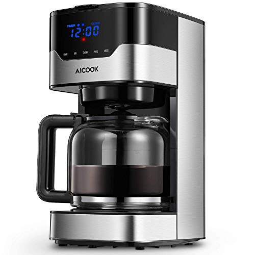 Coffee Maker, Filter Coffee Machine, Aicook 12 Cup Programmable Coffee Maker with Timer, Carafe, Anti-Drip System, Permanent Reusable Filter, Black and Silver. 41rgxMfkM5L