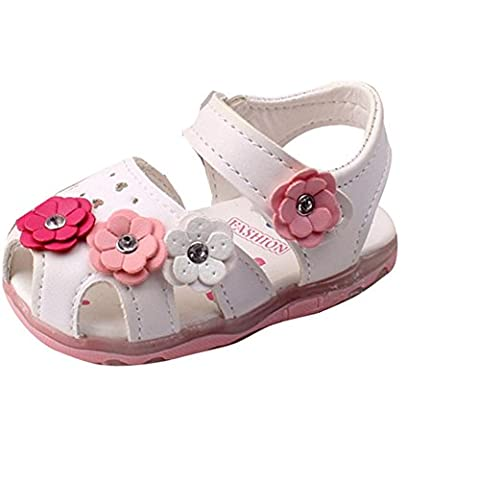 FALAIDUO 2017 Toddler Flowers Girls Sandals Lighted Soft-Soled Princess Baby Shoes (UK 5.5 (Age:3-4Y),