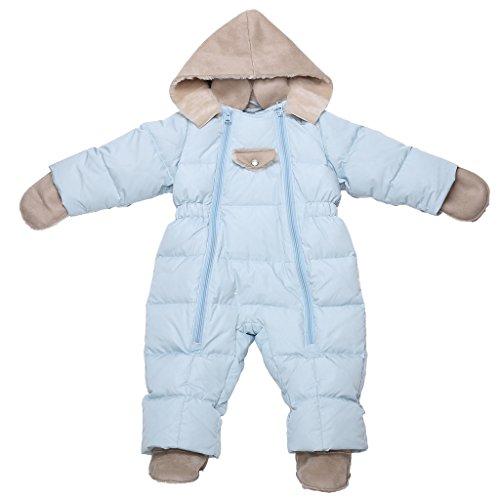 Oceankids Kinder Baby Jungen Blau Entendaunen Einteiler Abnehmbare Kunstfell Kapuze 0-3 Monate (End Kinder-fleece Lands)