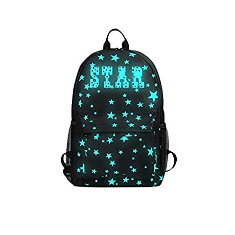 School Backpack, KEERADS Luminous Light Preppy Backpack Teenagers Noctilucent Cartoon Student School Bags (L, Black 3)