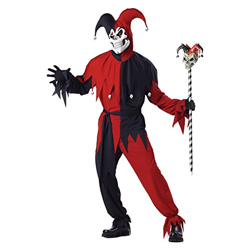 JESTER RED & BLACK ALL SIZES (Skull Red Kostüme)