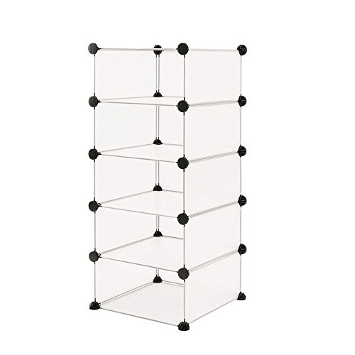 PrimeMatik - Armario Organizador Modular Estanterías de 5 Cubos de 17x35cm plástico Blanco