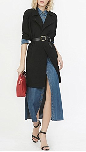 Smile YKK Robe Longue Femme Jean Chemise Fendue Bouton Elégant Mode Bleu