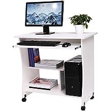 Fesselnd Computertisch Mit Tastaturauszug, Schreibtisch Auf Rolle Bürotisch Aus  Holz, Arbeitstisch 3 Regale, 80