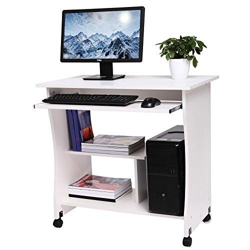 Computertisch mit Tastaturauszug, Schreibtisch auf Rolle Bürotisch aus Holz, Arbeitstisch 3 Regale, 80 x 48 x 76 PC Tisch für Arbeitzplatz zu Hause oder im Büro, Weiß