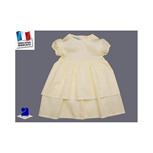 Poussin bleu - Robe fille baptême et cérémonie jaune pàle, 2 jupons Couleur  - Jaune 2a8feb50e38