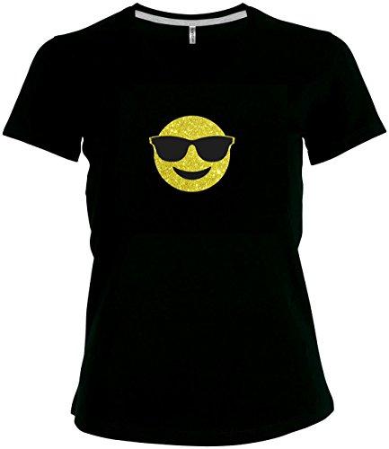 Shirt Damen Emoji super funkelnder Glitzeraufdruck Smiley Emoticon T-Shirt Karneval Fasching Kostüm Relaxt mit Sonnenbrille, Entspannt Chillen, L