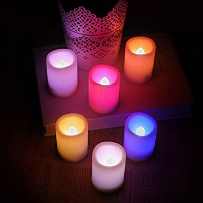Kohree 6 Indoor and Outdoor Colorful Flameless Pillar LED Candles Votive Candles with Remote Control & Timer by Kohree