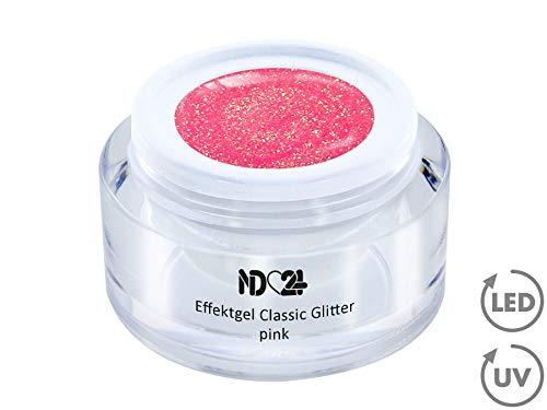 5ml - UV LED Effekt-Gel CLASSIC GLITTER pink - ROSA - Effekt Gel Naildesign FarbgGel NagelGel für Nageldesign Modellage - Nail Art Gel - Studio Qualität - MADE IN GERMANY