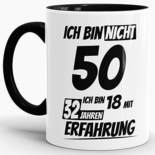 """Geburtstags-Tasse""""Ich bin 50 mit 32 Jahren Erfahrung"""" Innen & Henkel Schwarz/Geburtstags-Geschenk/Geschenk-Idee/Lustig/mit Spruch/Witzig/Spaß/Beste Qualität - 25 Jahre Erfahrung"""
