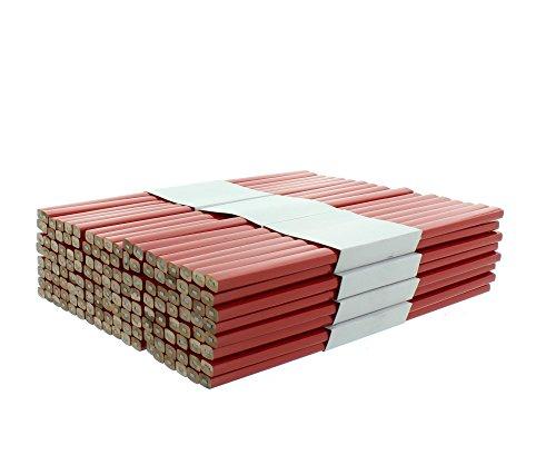 Zimmermannsbleistifte rot viereckig 250 mm Großpackung mit 144 Stück Baubleistift Handwerker Bleistift