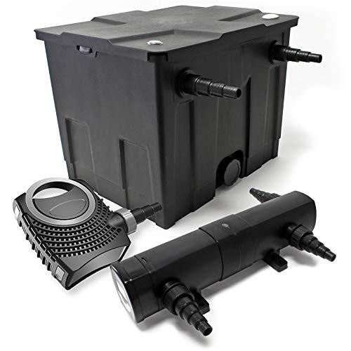WilTec Kit de Filtration de Bassin Bio 12000l Stérilisateur UVC 18W 80W Pompe éco