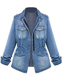 df45f3ace0244 Blousons Jacket Grande Taille Casual Femmes Oversize Denim Manteau De Poche  Jean Veste Zippe Chaîne S