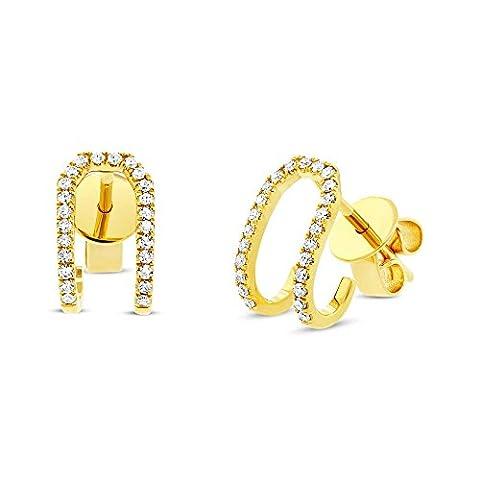 Ron Hami Women's 14ct Yellow Gold Diamond Thin Pave Huggie Hoop Earrings