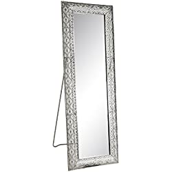 Espejo pie de metal plateado moderno para dormitorio de 60 x 175 cm Arabia - Lola Home