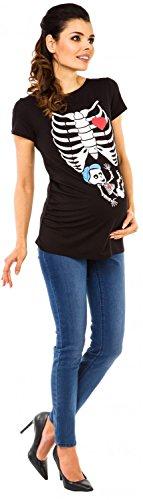 Zeta Ville Maternité - Top shirt de grossesse motif humour imprimé - femme 505c Noir