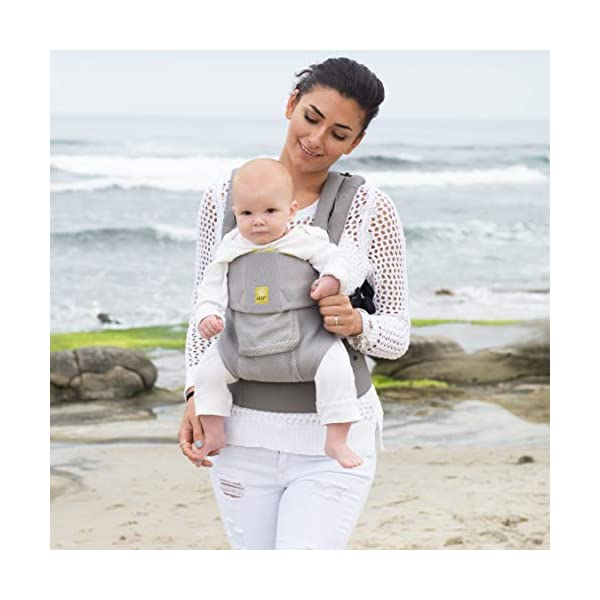 LÍLLÉbaby  Complete Airflow 6-in-1 Baby Carrier, Grey Mist Lillebaby Made from breathable mesh fabric to help keep parent and child cool and comfortable and with 6 carrying positions - Foetal, infant inward, outward, toddler inward, hip, back - The only carrier you'll ever need! Suitable from 3.2- 20kg (birth to approx. 4 years old), providing extended comfortable use for parent and child with no additional infant support required for new-borns - the ergonomic adjustable seat is acknowledged as 'hip-healthy' by the International Hip Dysplasia Institute Unique spacious head support with elasticated straps - soothes infants with gentle lulling motion and provides excellent support as children grow 7