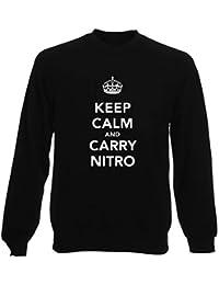 Felpa Girocollo Uomo Nera TKC1300 KEEP CALM AND CARRY NITRO cd1476270a0