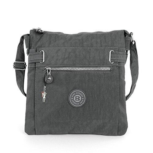 2226 Bag Street Damen sportliche Handtasche Umhängetasche Schultertasche aus Nylon Grau