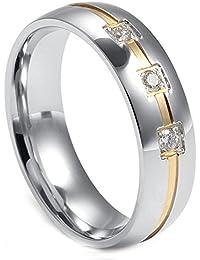 c948181c9091c LANCHENEL Bijoux pour Hommes Titane Acier Inner Trou Bagues Rubis Diamant