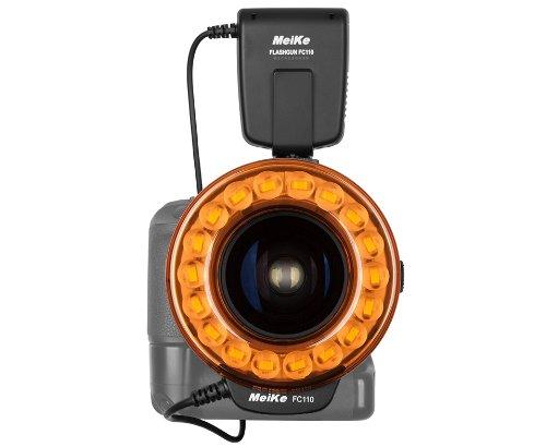 Meike FC110 Ringblitz - LED-Blitz und Dauerbeleuchtung für Makrofotografie mit Standard ISO Blitzschuh und LCD Display - Geeignet für Nikon, Canon, Pentax, Olympus, Sony (mit Adapter) uvm.