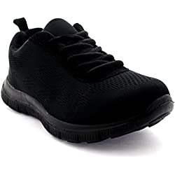 Mujer Get Fit Mesh Go Ejecutarning Atlético Caminar Zapatos Ejecutar - Negro/Negro - 38