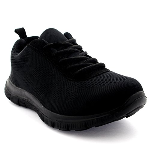 Womens Get Fit Mesh Running Trainers Athletic Walk Gym Shoes Sport Run - Black/Black - 6 - 39 - CD0047