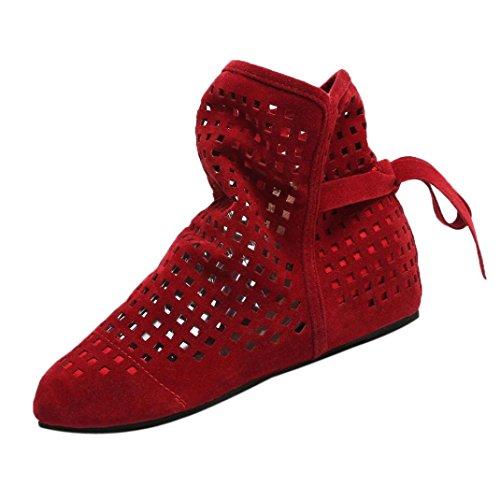 VJGOAL Damen Stiefel, Damen Mode Hohl Flache Low Versteckt Wedges Cutout Slip On Schuhe Casual Niedlichen Ankle Herbstliche Stiefel (Rot, 34 EU)