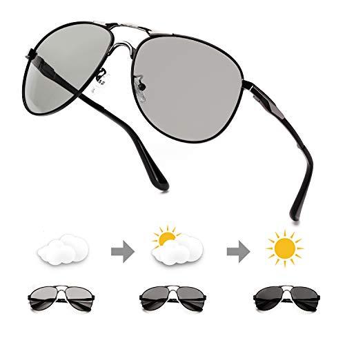 ELIVWR Photochromatisch polarisierte Sonnenbrille Männer Frauen 100% UV-Schutz für Golf Fischen Tag und Nacht (Schwarzer Metallrahmen/photochrom polarisierte Linse)